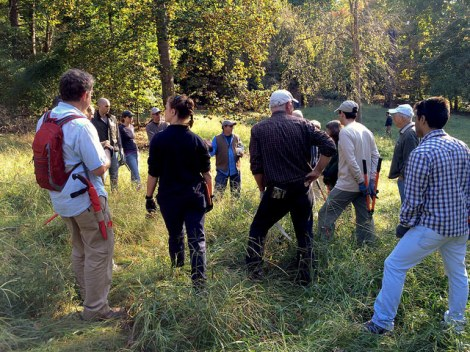Meadows designer Larry Weaner with group in Dumbarton Oaks Park meadow. October 2014.
